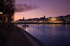 Good morning Basel (simon_mangold) Tags: morning bridge red sky water les night sunrise hotel cloudy grand basel brücke rhine rhein morgen rois mittlere morgenrot baselstadt kleinbasel baselcity troix simonmangold