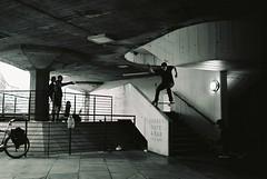 SB Hubba (Chief Lord) Tags: street winter blackandwhite london film thames 35mm skateboarding save southbank 180 xp2 skate ilford praktica sb dcshoes nosegrind b100 mannylopez fabricskateboards