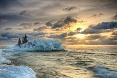 Hollow Rock Winter (Lake Vermilion1) Tags: winter white lake snow tree ice water sunrise landscape island nikon lakesuperior icicles d800 tombolo grandmarias lakevermilionphotos
