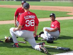 Grady Sizemore & Xander Bogaerts - Red Sox (murphman61) Tags: boston baseball florida redsox grapefruit fl league bostonredsox springtraining mlb fortmyers