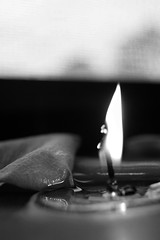 Petal and Wax BW (The Night is More Colourful) Tags: blackandwhite window happy fire perfect candle sill calming petal flame
