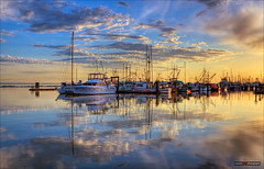 Harbour Reflections (Clayton Perry Photoworks) Tags: sunset canada vancouver clouds reflections boats spring fishing bc richmond steveston
