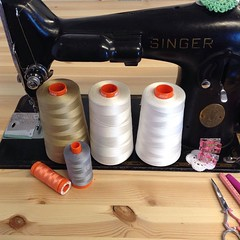 Aurifil 50wt thread: ~200yd baby, ~1400yd standard and mega ~6400 yard cone  I ?? cotton thread