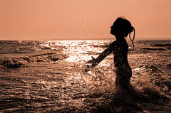 child (cosovan.vadim) Tags: sea sun film water drops child kodak scanned