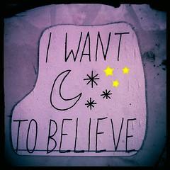 'I want to believe' in Footscray (Melbourne Streets Avant-garde) Tags: street art graffiti stencil sticker melbourne want believe footscray i