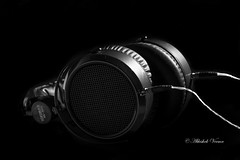 Headphones (abhishek.verma55) Tags: light shadow blackandwhite music black monochrome dark photography flickr technology flash creative depthoffield entertainment sound bliss product lowkey lightandshadow phones headphone shallowdepthoffield tamron2470 yongnuo hifiman canon550d he500