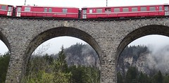 DSC04526 Train runs over the Landwasser viaduct near Filisur (Tery14) Tags: switzerland filisur train travel bridge landwasser berninaexpress