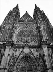 St. Vitus Cathedral at Prague Castle III (holtelars) Tags: blackandwhite bw 120 film monochrome architecture analog mediumformat 645 prague pentax praha 200iso czechrepublic analogue 6x45 f28 45mm stvituscathedral czechia foma pentax645 filmphotography rodinalspecial fomapan fomapan200 classicblackwhite 645n homeprocessing fomapan200creative filmforever smcpentaxfa r09spezial larsholte compardr09spezial