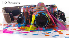 Crayola2 (to.photography) Tags: camera pink blue orange color yellow photography colorful purple magenta olympus strap cannon wax crayon melted oldcamera crayola owens meltedcrayon tophotography taylorwowens