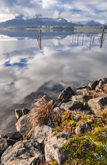 Hopfensee (ccr_358) Tags: trees winter panorama lake water clouds reflections germany landscape lago bayern deutschland bavaria mirror see scenery view postcard january lac inverno germania cartolina gennaio baviera 2016 swabia christmasholidays hopfensee ostallgu ccr358