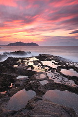 RED PUDDLES (Obikani) Tags: longexposure light sunset sea seascape reflection water beautiful clouds reflections puddle seaside amazing rocks colorful salty seashore cantabria espaaspain sonabia canonikos