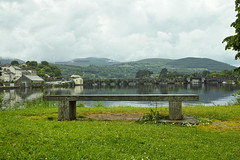 Bench and  Killaloe Bridge (Phoenix Konstantin) Tags: ireland prime sigma pointshoot merrill foveon merill 30mm loughderg balina dp2m