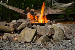 Enjoying the first day of summer 2016. (SaltyDogPhoto) Tags: camping camp selfportrait nature relax outdoors fire evening spring nikon fireplace dof autoportrait bokeh pennsylvania relaxing depthoffield pa campfire hammock poconos nikkor firepit campsite selfshot selfie naturelover campgrounds mtpocono poconomountains focusonforeground nikonphotography outdoorlover patravel nikond7200 saltydogphoto nikkor1680mmf284eedvr hemlockcampsitesandcottages