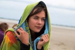 Wrapped in towel (gyuri200) Tags: portrait woman cold closeup seashore