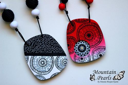 Polymer clay necklaces, silk screen technique