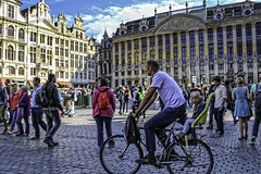 Grand Palace Square (Grote Markt) - Brussels (Culture Shlock) Tags: travel brussels bike bicycling belgium grandpalace grotemarkt townsquare parentsandchildren grandpalacesquare