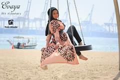 Untitled (Monia Allouche) Tags: sea portrait beach girl beautiful face lady female port harbor clothing model view outdoor feminine femme hijab style swing arabic clothes glam calligraphy abaya modelling photosession amazingview arabicwear