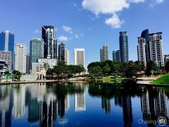 Kuala Lumpur. #iPone6sPlus #Cityscape #KualaLumpur (choong mun) Tags: blue building tree green water pool garden skyscape cityscape outdoor bluesky kualalumpur february klcc iphone6splus