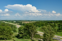 Loess Hills Thunderstorm (kevin-palmer) Tags: storm stormy thunderstorm june summer sky weather clouds nikond750 tamron2470mmf28 iowa loesshills scenicoverlook tower i680 interstate freeway afternoon cumulonimbus blue green grass missourivalley anvil distant circularpolarizer