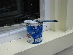 179/365: A lick of paint (Kelvin P. Coleman) Tags: city nottingham urban white window canon painting tin paint sill mask outdoor can brush powershot shelf tape decorating frame 365 offwhite windowsill paintbrush windowframe renovating maskingtape windowledge painttin