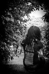 20160607-DSC01733 (KamilPi) Tags: portrait blackandwhite girl leaves back nice women place forrest lonely schwarzweis beautyfullife