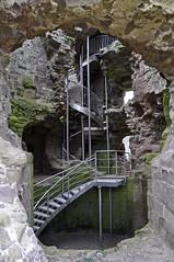 Ancient & Modern (explore) (Chris Mullineux) Tags: castle wales spiral stainlesssteel steel spiralstaircase northwales rhudlan rhudlancastle