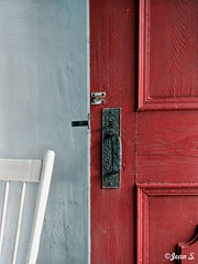 ... (Jean S..) Tags: door red white texture wall concrete chair chapel indoor knob