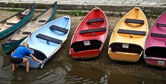 OnThePull (Hodd1350) Tags: woman reflection water back colours olympus seats dorset pulling rowboats wareham penf zuikolens