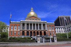Massachusetts State House (oxfordblues84) Tags: city blue sky building boston architecture arch flag massachusetts arches bluesky flags capitol dome beaconhill cloudysky brickbuilding capitolbuilding golddome doriccolumns bostonmassachusetts massachusettsstatehouse doriccolumn 5photosaday charlesbulfinch monumentalbuilding 24beaconst