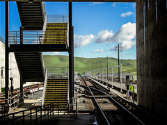 The Hills Are Alive (stefanws) Tags: sanfrancisco california travel blue light sky green nature station clouds stairs concrete publictransportation open steel space steps perspective bart tracks sunny tunnel hills commute bayarea eastbay martinez bayarearapidtransit