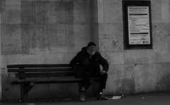 Tell us what you think (bensonfive) Tags: beer monochrome canon bench underground 50mm cigarette candid tube streetphotography smoking trainstation 5d southlondon reallife northernline tfl blackwhitephotography