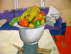 still life with fruit (Evelyn Bach) Tags: stilllife fruit illustration sketch drawing interior pastels oil