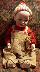 Hertel Schwab 151 (Visit My Dolls) Tags: bear boy composition toy toys doll dolls teddy antique bears bisque german mohair overalls corduroy steiff bibs 151 schwab hertel
