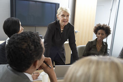 senior-businesswoman-leads-meeting-ThinkstockPhoto (sarahmepstein) Tags: thinkstock meeting executive professional businesswoman powerful important colleagues office workplace