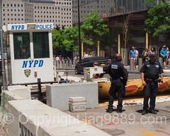 NYPD Police Checkpoint, World Trade Center, New York City (jag9889) Tags: 2016 20160619 barrier checkpoint cop finest firstresponder gate groundzero lawenforcement lowermanhattan manhattan ny nyc nypd newyork newyorkcity newyorkcitypolicedepartment officer outdoor police policedepartment policeofficer security usa unitedstates unitedstatesofamerica wtc worldtradecenter jag9889