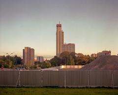 Katowice, Poland. (wojszyca) Tags: mamiya rz67 120 6x7 mediumformat 75mm shift kodak portra 160 gossen lunaprosbc epson 4990 city urban architecture modernism altus katowice fence dusk twilight