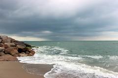 Rosslare Harbour (greenladycrafts) Tags: blue ireland seascape green beach nature water landscape rocks rocky eire irishsea rosslareharbour