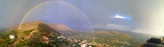Arc en ciel  Ehden - Liban (Hanna Khoury) Tags: travel sky panorama lebanon tourism rain clouds rainbow day el panoramic calm rainy nuages libano viaggio panoramique  hosn ihdin      pluit          saydit lebanesedremers