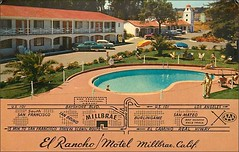 El Rancho Motel; Millbrea, California (1950sUnlimited) Tags: advertising 1954 pools 1950s postcards hotels trailer advertisements motels midcentury lodges