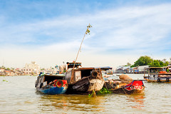 Boats with agricultural products at the floating market (womofa) Tags: life wood trip travel people woman classic tourism water hat retail fruit standing river asian boat asia vietnamese ship tour village market south traditional poor culture floating lifestyle delta vegetable tourist east vietnam southern transportation tropical rowing oar destination vendor local agriculture selling merchant mekong conical cantho indochina occupation cairang tiengiang