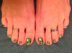 March 2013 Shamrock Toes (martha.harmon) Tags: feet foot toes toe pedicure clover shamrocks shamrock toering clovers stpatricksday nailart toenail naildesign