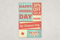 Retro Memorial Day Flyer (inkdphotos) Tags: blue red usa white texture america stars flyer sale stripes americanflag patriotic event script 4thofjuly independenceday template laborday memorialday bold sansserif mixedtype