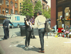 Greenwich Village: After the Murder, Before the Vigil (Lanterna) Tags: street gay memorial mourning murder violence guns tribute interview policeman greenwichvillage bias hatecrime markcarson