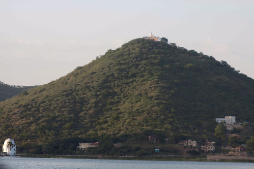 Cartoon - Green hill next to the Fateh Sagar lake in Udaipur