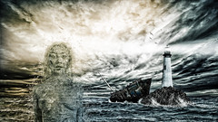 Seiren (Tom Di Maggio) Tags: ocean sea woman lighthouse green composite photoshop model concept siren seiren