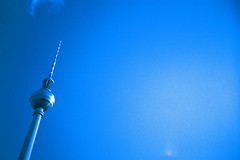 Blauer Axel (Markus Moning) Tags: blue sky berlin tower film alex analog 35mm germany deutschland tv lomo lca xpro lomography fuji cross himmel x professional chrome alexanderplatz pro fernsehturm blau process lc expired fujichrome processed blauer 2010 t64
