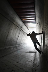 (atomareaufruestung) Tags: city friends urban berlin silhouette spring skateboarding abril tunnel april session wallride skateboarder frhling offthewall 2013 wallridetofakie