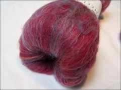 Mostly Red Wheel of Fortune batt (Needleloca) Tags: stash spinning fiber ribbet batts 2013