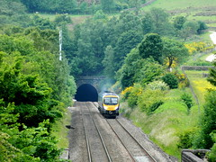 185142 powers out of Cowburn Tunnel with the 1B74 Manchester Airport to Doncaster service, 27th June 2013. (Dave Wragg) Tags: diesel railway railcar tpe dmu 1b74 class185 firsttranspennineexpress cowburntunnel hopevalleyline 185142