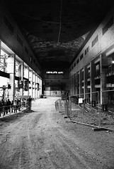 Battersea Power Station - FX-D/Open House 2013 (Cris Ward) Tags: street city uk travel shadow chimney blackandwhite bw black detail building brick slr london tower abandoned industry film tourism monochrome metal architecture contrast analog 35mm vintage silver mono lomo lomography rust industrial factory power britain decay steel grain ruin landmark monotone highlights indoors event push analogue manual pushed battersea derelict openhouse yashica batterseapowerstation greyscale decommissioned pushprocessing yashicafxd lomographyuk ladygrey400 lomographyladygrey400 lomographyladygrey400blackwhite openhouselondon2013 opencitylondon2013